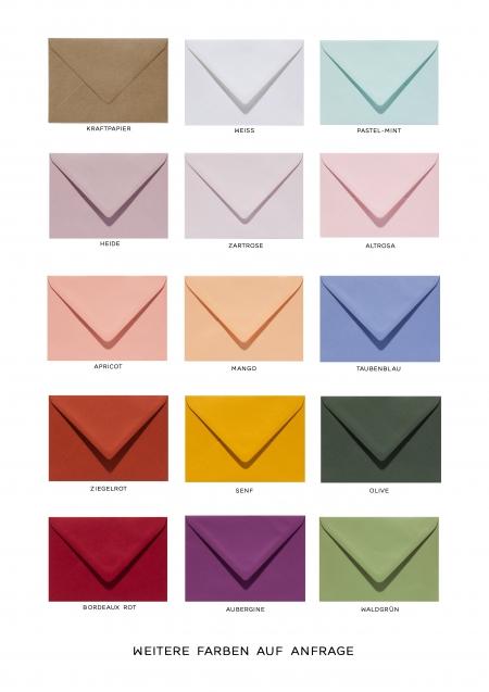 Umschläge für Ihre Hochzeitspapeterie in unterschiedlichen Farben