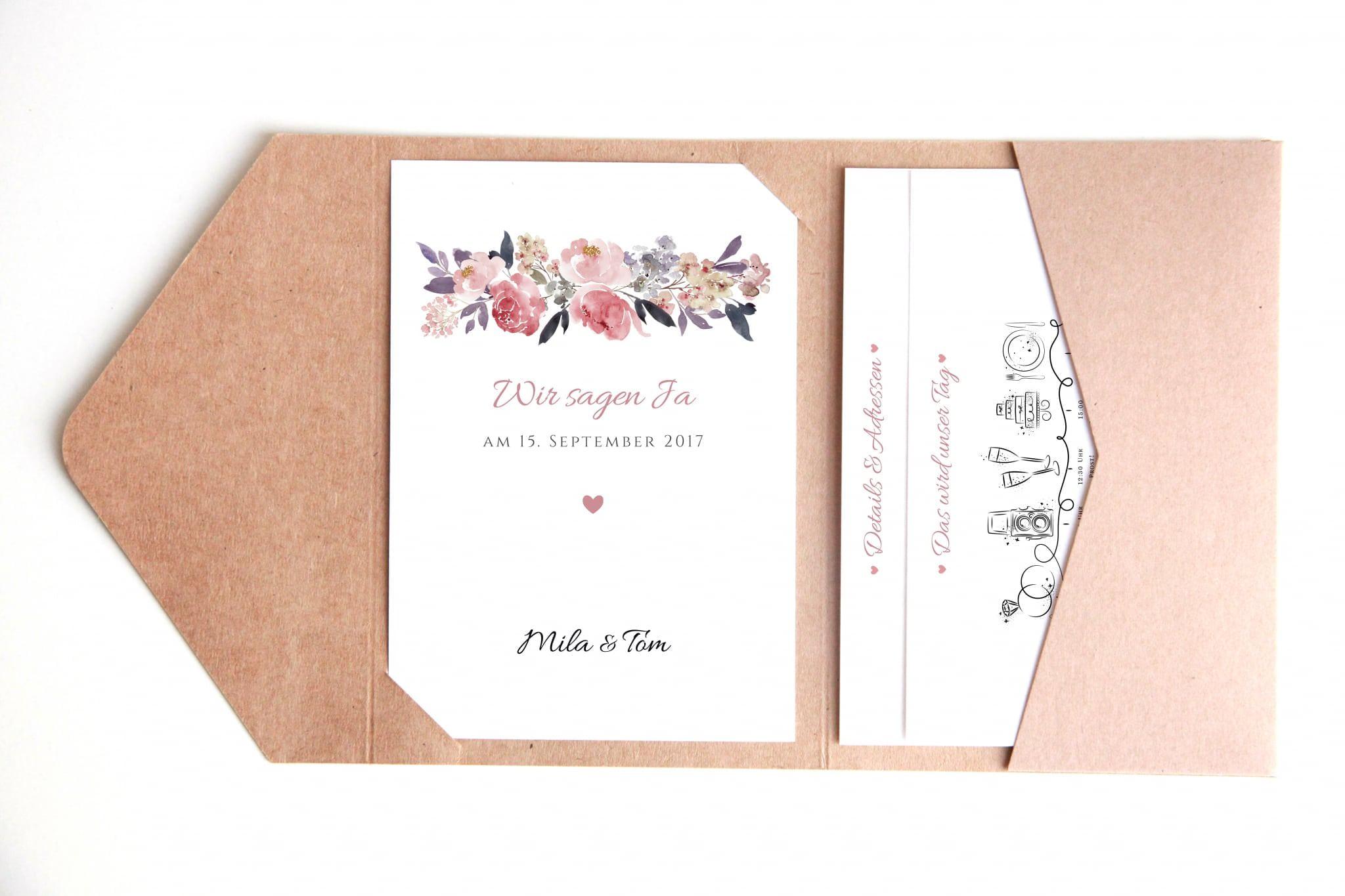 33dfb39feee39 Pocketfold-Einladungskarten DIY - Mila & Tom