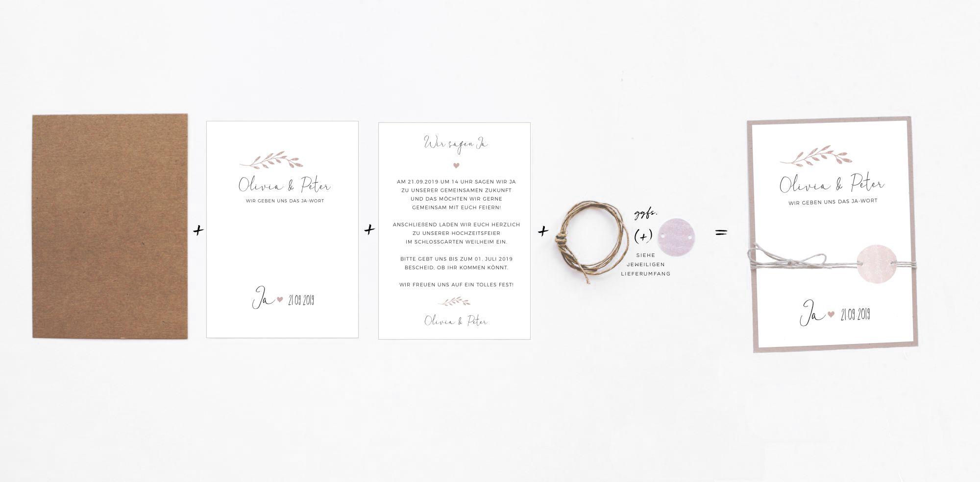 DIY Hochzeitskarten Anleitung zum selbst zusammmenbauen