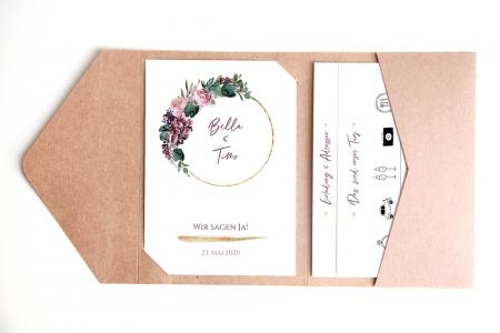 Florale Einladungskarte für Eure Hochzeit